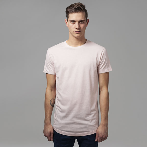 Pánské tričko Urban Classics Shaped Long Tee pink - M