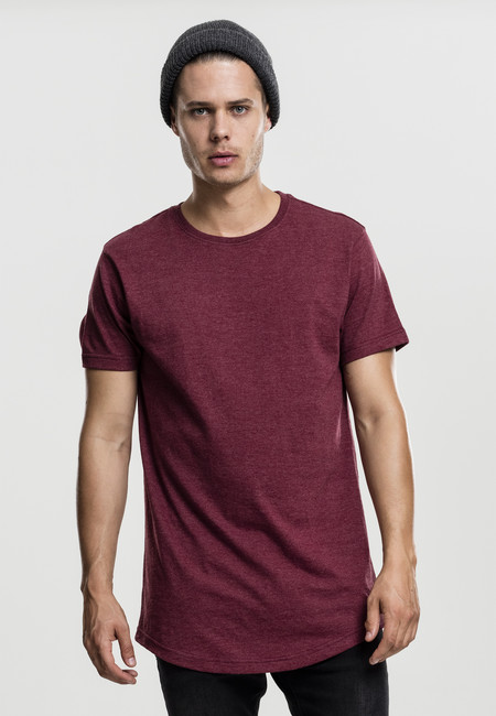 Tričko Urban Classics Shaped Melange Long Tee cherry - M