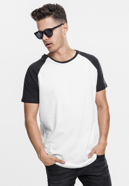 Urban Classics Shaped Raglan Long Tee wht/blk - M