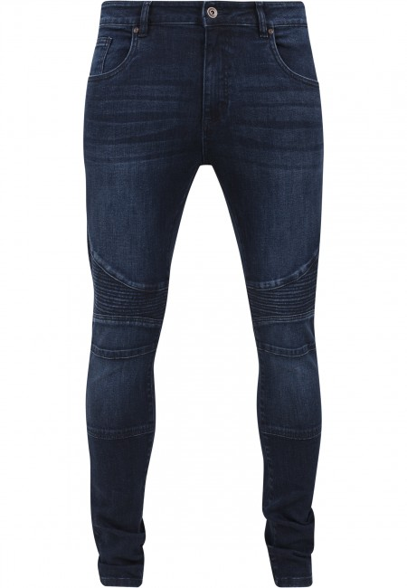 urban classics slim fit biker jeans darkblue. Black Bedroom Furniture Sets. Home Design Ideas